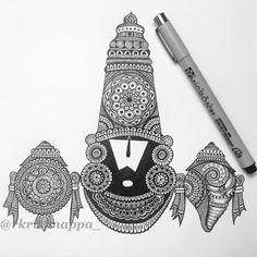 Venkateshwara / Srinivasa / Venkata / Balaji is a form of Hindu God. It is believed that on Lord's inner Sanctum /… Ganesha Art, Krishna Art, Ganesha Drawing, Doodle Art Drawing, Zentangle Drawings, Mandala Drawing, Zentangles, Mandala Design, Buddhism