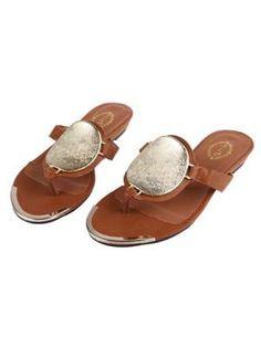 Brown Metal Decorative Flip - flops