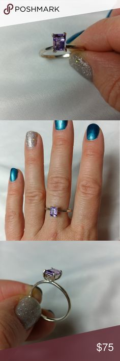 Amethyst Sterling Silver ring - size 9 Genuine emerald cut Amethyst stone set in 925 Sterling Silver setting. Size 9.  Approximate 1ct TGW Jewelry Rings