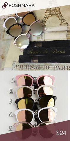 Fashion Mirrored Sunglasses Fashion Mirrored sunglasses with top gold trim. Available in 6 colors as shown in pic 2. Choose your color when checking out Bchic Accessories Sunglasses
