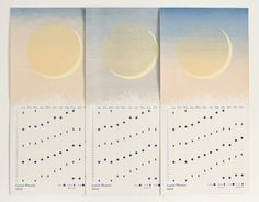 """Stay in touch with the Moon in 2016.Lunar Phases 2016, a four-color* screenprint on butcher off-white 100 lb. cover French paper, 11"""" x 5.25."""" Limited edition of 140.  Signed and numbered on the back.This hand printed calendar organizes symbols of the New, First Quarter, Full and Last Quarter phases of the moon on a convenient grid, with a key for quick reference. *Each calendar has a unique color gradation. They've been broken into three categories:Ora..."""