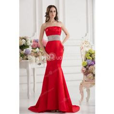 Red Satin Strapless Chapel Train Mermaid Wedding Dress $178.99