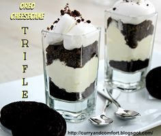 Oreo Cheesecake Trifles - Serve in a large glass dish, or even better, individual shot glasses ... :)