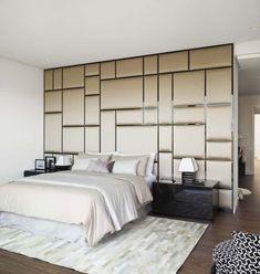 Polsterwand Im Schlafzimmer Wandpaneel Bett Rückenpolster Wand Rückenlehne  Polster Design Braun Luxus Modern Gold #bedroom