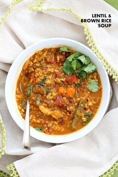 Easy 1 pot Lentil Rice Soup with Veggies, Spinach or greens of choice. 20 minutes active time then let everything simmer. Serve with crackers, papadum or grilled vegan cheese sandwiches. Indian Food Recipes, Whole Food Recipes, Soup Recipes, Cooking Recipes, High Protein Vegan Recipes, Healthy Recipes, Healthy Soups, Vegan Soups, Healthy Food