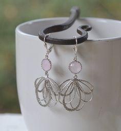 Pale Pink Dangle Earrings in Silver. Multiple Teardrop Drop Earrings.  Pink Jewelry. Bridesmaid Earrings. Gift for Her. Free Shipping.