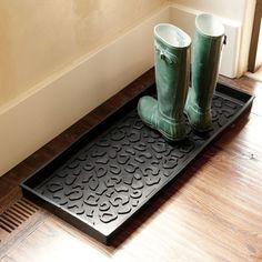 Entry way decor; Rubber Boot Tray. Love this! Need it with a please take off your shoes sign by the door.