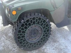 Airless tires. Good luck popping these, actions heroes, zombies, and rampant neighborhood pranksters!