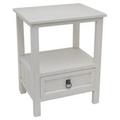 """Crafted from wood and showcasing a white finish, this 1-drawer end table is the perfect canvas for displaying vibrant decor or a vase of brilliant blooms.  Product: End tableConstruction Material: WoodColor: WhiteFeatures: One drawer One open display shelfDimensions: 24.5"""" H x 19"""" W x 14.5"""" D"""