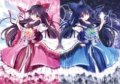 Red and blue Reimu