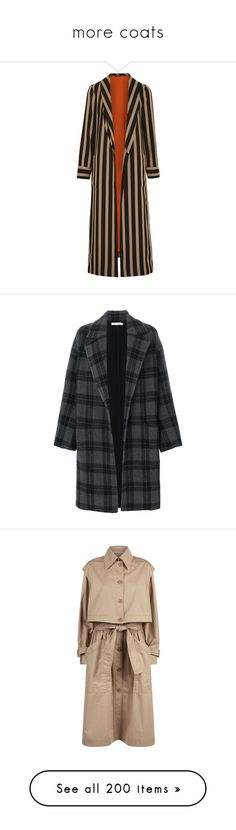 """""""more coats"""" by lustydame ❤ liked on Polyvore featuring outerwear, jackets, coats, stripes, etro, striped jacket, etro jacket, brown camisole, stripe jacket and black"""