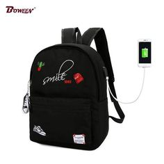 Teens Canvas boy school bags for teenage girls Backpack Schoolbag Women Usb Student  Bags men Black 0effbc936632d