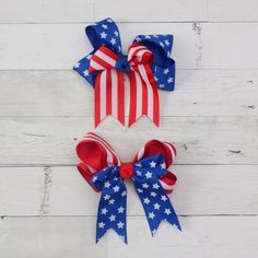 Personalized Embroidered Red White and Blue Polka Dots Hair Bow 4th of July