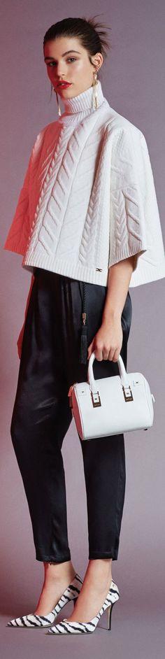 Elisabetta Franchi 2015/16 white knit poncho. Fall autumn women fashion outfit clothing stylish apparel @roressclothes closet ideas
