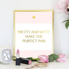 Pink Gold Pretty Witty Clever Words Designer Spade Inspired Quote... ($4) ❤ liked on Polyvore featuring home and home decor
