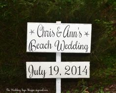 Beach Wedding Sign Large Directional Rustic Wedding Signage Decor Welcome Personalized Arrows Direction Stake Wood Nautical Destination