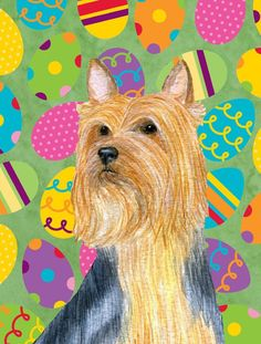 Silky Terrier Easter Eggtravaganza Flag Canvas House Size