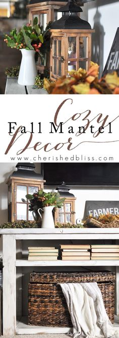 Gorgeous Fall Mantel Decor for when you don't have a mantel. See how this…