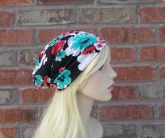 Floral Beanie Jersey Knit Slouchy Beanie Black with Poppy Red & Turquoise Blue Flowers Spring Beanie Festival Clothing Floral Stretchy Hat by foreverandrea on Etsy