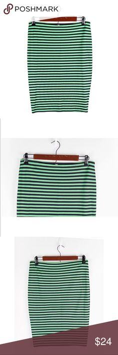 Bailey 44 Green Navy Blue Striped Mini Skirt Anthropologie $98 Bailey 44 Green Navy Blue Striped Stretch Mini Skirt Sz Small  Waist: 15 Length: 23  *All measurements were taken laying flat* Bailey 44 Skirts Mini
