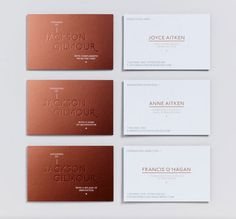 Magpie Studio cre­ated this sophis­ti­cated iden­tity for Jackson Gilmour. Copper with copper foil - nice