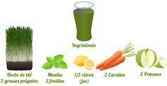 Pour cette première journée de détox, découvrez notre recette à l'extracteur de jus pour un jus d'herbes, carottes et pomme !