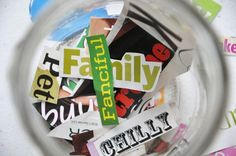WORD COLLECTION JARS - Pull 10 words from the jar and create a story using all 10 words! Good for a writing center
