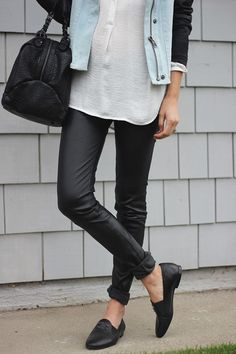 Denim + Leather + Loafers