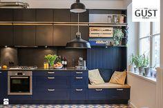 Mieszkanie na Górnym Mokotowie - Kuchnia, styl eklektyczny - zdjęcie od GUST MEBLE black kitchen   inspiration   modern   minimalism   patchwork   luxury   home design