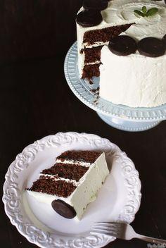 Grasshopper cake with creme de menthe buttercream and mint chocolate ganache