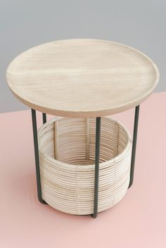 BASKET TABLES | Alain Gilles  for vincentsheppard.com - Wicked Collection. The plate can be removed from the structure and serve as a serving tray. Materials: rattan, lacquered steel, massive wood - High: 45 x 47 cm  ( D x h )  - 17,7 x 18,5 inches | Low:  45 x 38 cm  ( D x h )  - 17,7 x 15 inches