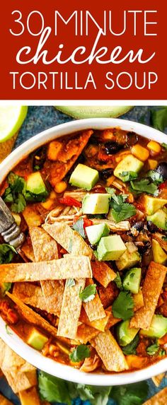 Easy Homem Easy Homemade Chicken Tortilla Soup that tastes better than any restaurant!It's accidentally healthy easy to double/triple for a crowd freezer friendly and tastes like it's been simmering for hours but on your table in 30 Minutes! Healthy Chicken Tortilla Soup, Healthy Soup, Healthy Recipes, Dinner Healthy, Chicken Soup, Easy Recipes, Easy Tortilla Soup, Rotisserie Chicken, Tortilla Chips
