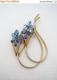 SALE Mid Century Calla Lily Brooch  Blue Aurora by ERAtiqueJewels