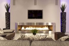 Gray Covering Modern Sofa With Modern Fireplace Feat Wallmount Tv Wall Units On The White Wall And Contemporary Lounge Designs