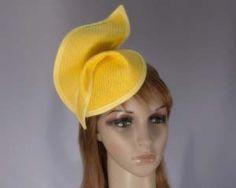Yellow fashion pillbox fascinator hat for races Max Alexander MA564Y