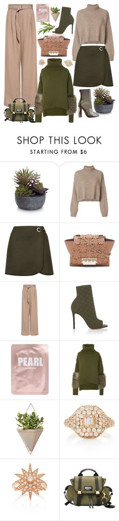 """""""Olive + Pink"""" by cherieaustin ❤ liked on Polyvore featuring Elements, Rejina Pyo, Topshop, TIBI, Gianvito Rossi, Lapcos, Sally Lapointe, Umbra and Moschino"""