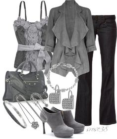 """Gray"" by srose38 on Polyvore"
