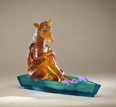 "Susan Silver Brown, ""Joy Riders: Deer,""   cast lead crystal glass,  http://www.morganglassgallery.com/imagepages/brown2_jr_deer.htm"