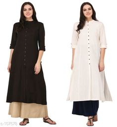 Kurtis & Kurtas Multicolored Cotton Kurti (Combo of 2) Fabric: Cotton Sleeves: Sleeves Are Included Size:  XS, S, M, L, XL, XXL, 3XL,4XL ( Refer Size Chart For Details ) Type: Stitched Description: It Has Combo of 2 Kurti Pattern: Solid Sizes Available: XS, S, M, L, XL, XXL, XXXL, 4XL   Catalog Rating: ★4.3 (608)  Catalog Name: Solid Cotton Kurtis CatalogID_10640 C74-SC1001 Code: 949-107578-
