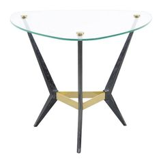 Elegant Triangular Side Table by Angelo Ostuni, 1950s | From a unique collection of antique and modern side tables at https://www.1stdibs.com/furniture/tables/side-tables/