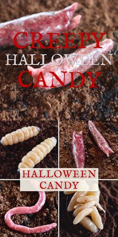 Creepy Halloween Candy Creatures with Marzipan - Halloween party food idea with homemade marzipan al Comida De Halloween Ideas, Dulces Halloween, Bolo Halloween, Creepy Halloween Food, Hallowen Food, Healthy Halloween Treats, Halloween Dinner, Halloween Desserts, Halloween Food For Party
