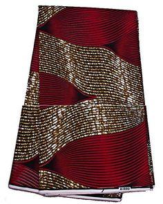 2 Yards Red & Brown Wave African Fabric Ankara Real  Wax  Prints. .  #VeritableFirstLadyBlock