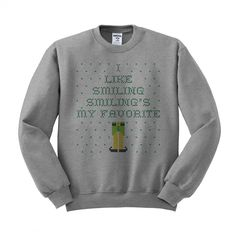Elf Smiling's My Favorite Ugly Christmas Sweater Crewneck Sweatshirt