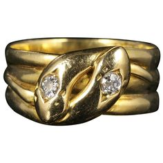 Antique Victorian Diamond Snake Gold Ring Dated London, 1901