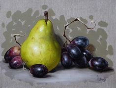 """Pear And Grapes"" - Original Fine Art for Sale - © Clinton Hobart"
