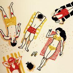 From above. #illustration by Marie Åhfeldt – Mås Illustra. www.masillustra.se #summer #sunbath #happy