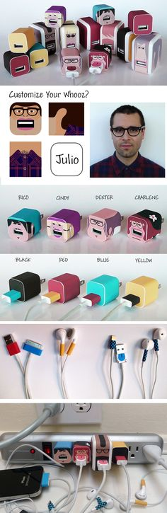 Truffol.com | Now you customize your power adapters or headphones with your own face. #cool #fun #tech #gadgets #wow