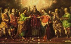 1690-00 - Los Desposorios - Cristóbal de Villalpando - Óleo sobre tela - 178x285cm - Arte Novohispano - Museo del Carmen, México