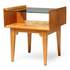 Jens Risom; Birch and Glass Side Table, 1950s.