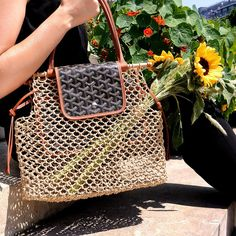 When the summer kicks in, the fashion world focuses on perforated and braided handbags because they're the most comfortable to carry. Goyard Tote Bag, Goyard Handbags, Replica Handbags, Basket Bag, Luxury Handbags, Leather Handle, Goyard Tote, Totes, Bags